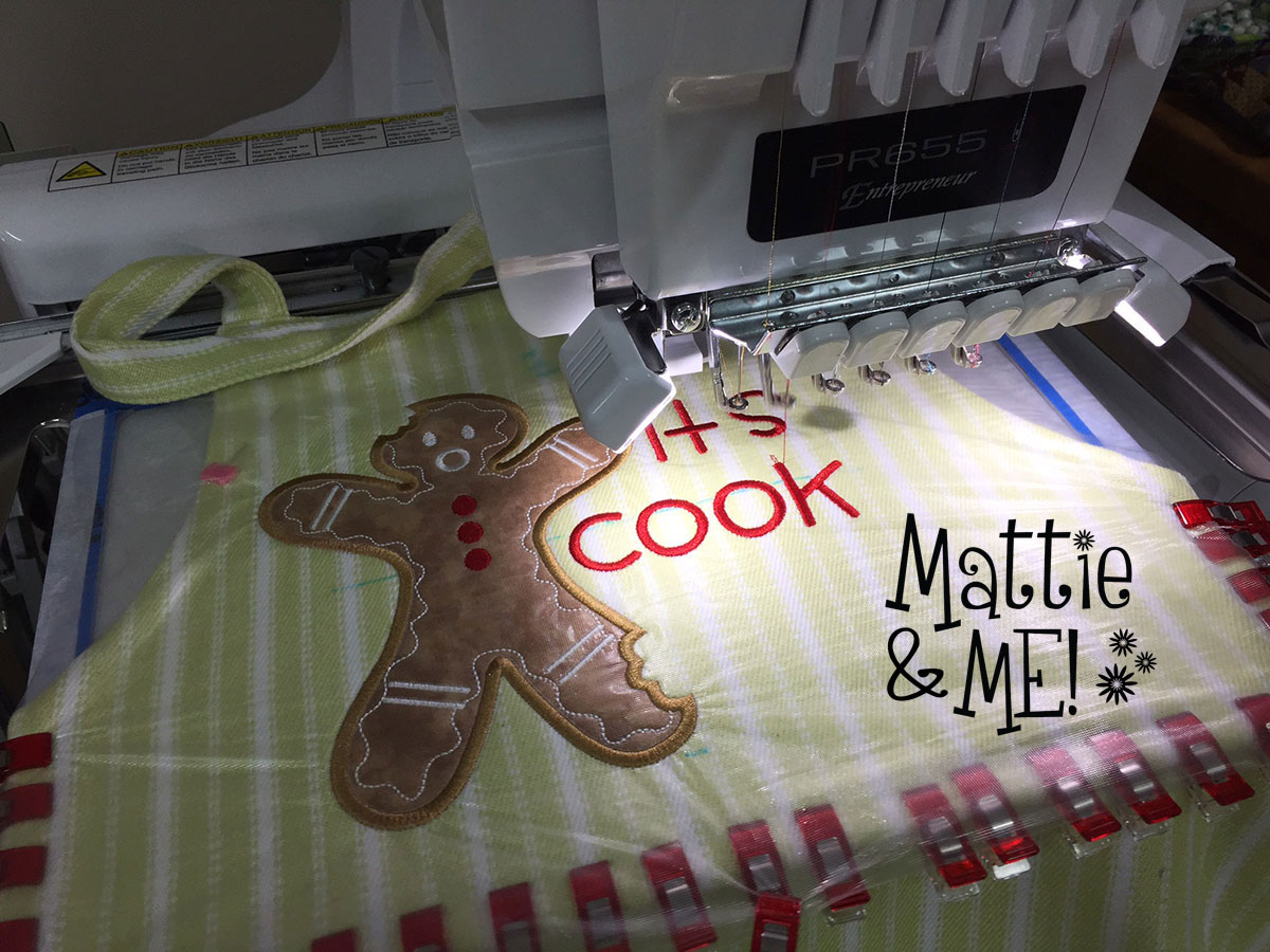cookie time apron on the machine