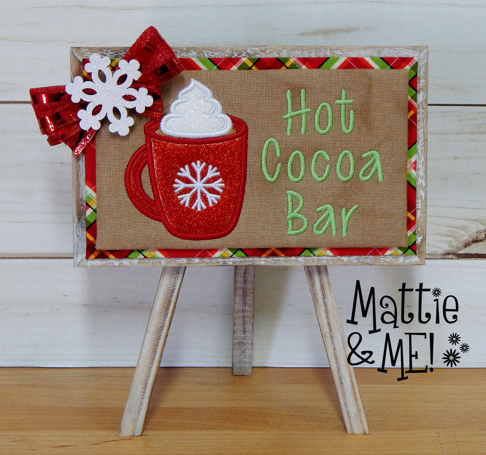 finished hot cocoa bar pedestal sign