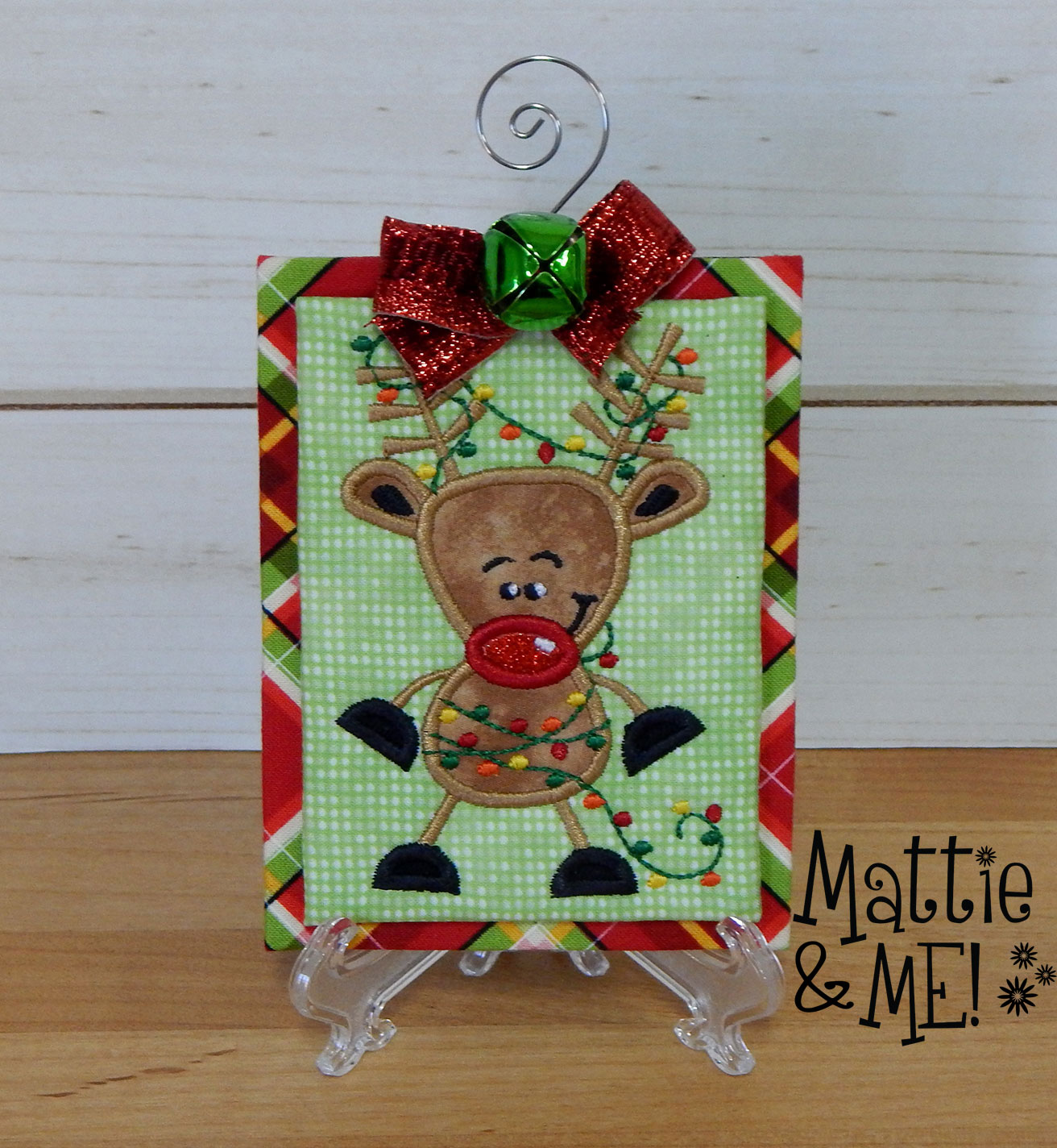 finished reindeer tangled lights ornament