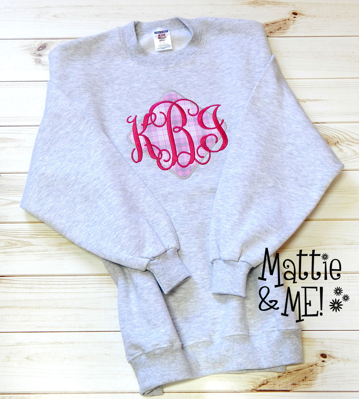 framed monogrammed sweatshirt finished