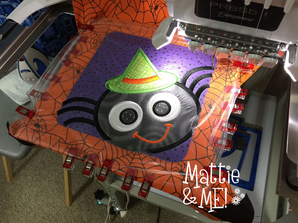 halloween placemat applique on machine