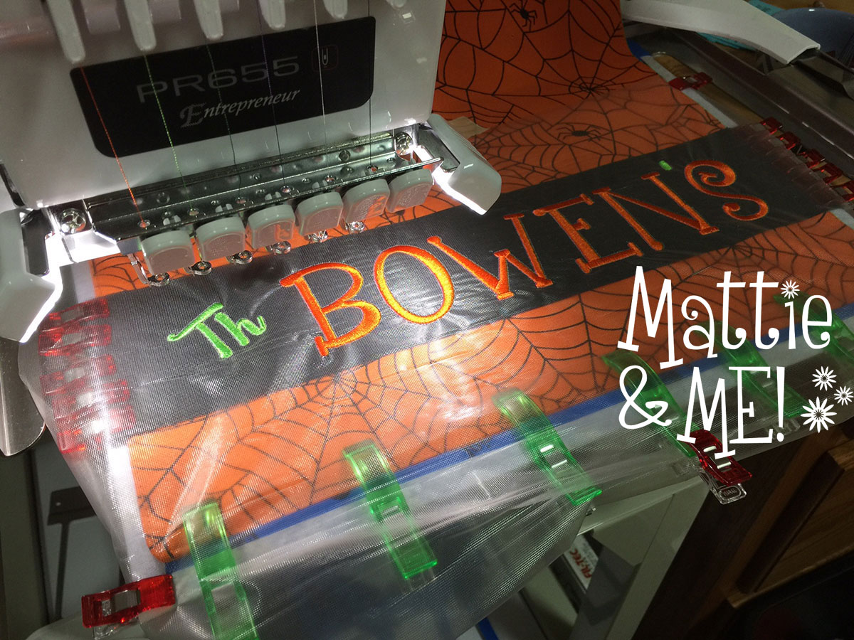 halloween placemat flag name stitching