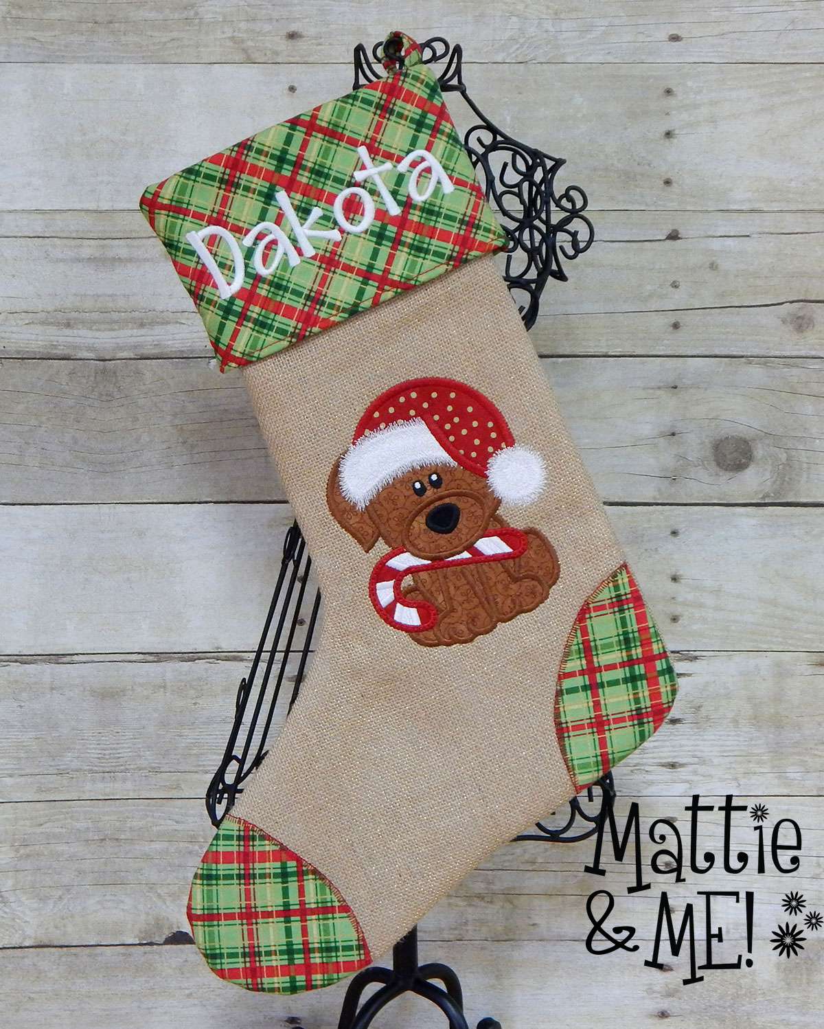 santa puppy stocking