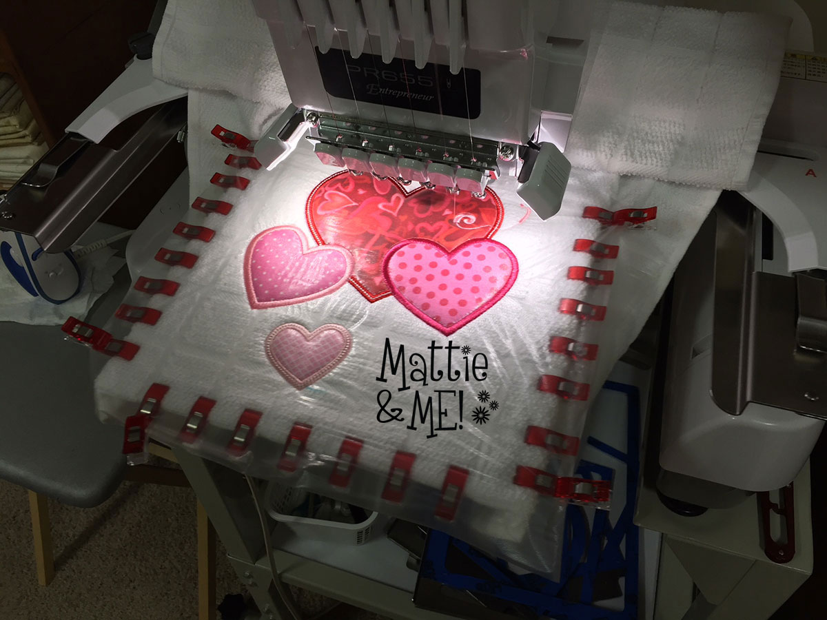valentine kitchen towel on the machine 2